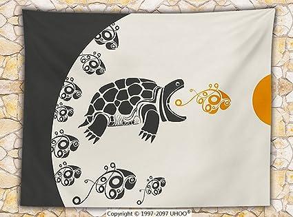 Moderno Decor manta de forro polar Animal Caretta tortuga tortuga diseños detallados geométrica imagen manta crema