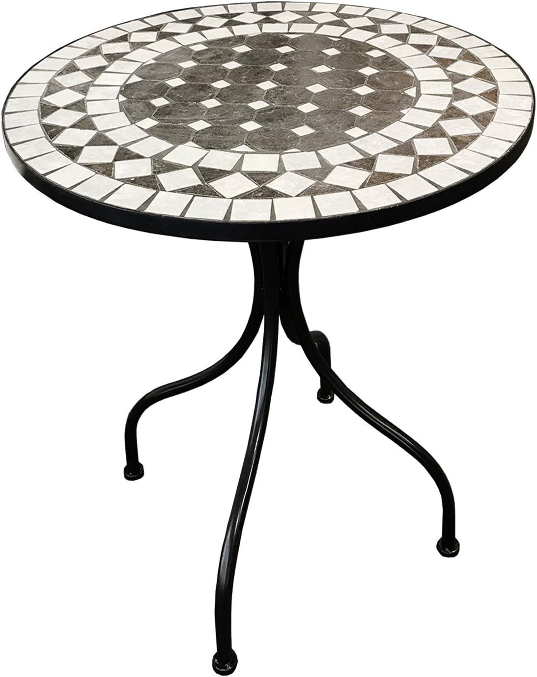 FineHome - Mesa de jardín mediterránea con diseño de círculos, Mesa de Mosaico, Muebles de jardín, Mesa de Bistro, Color Antracita/Gris, 60 x 70 cm: Amazon.es: Jardín