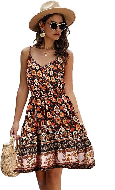 LittleMax Women's Floral Sexy V Neck Spaghetti Strap Backless Button Down Sundress Summer Mini Short Dress with Belt