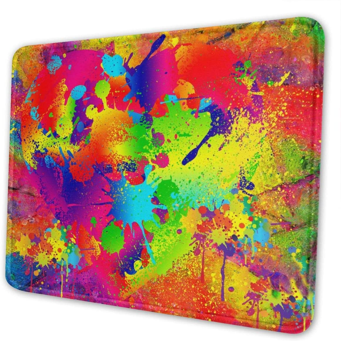Mouse Pad with Stitched Edge Gaming Mouse Mat Non-Slip Rubber Base Mousepad for Laptop Computer Pc 10×12 Inches Splattered Paint
