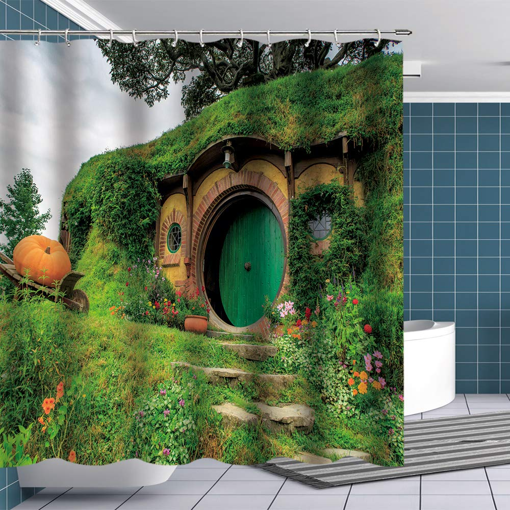 BTTY Hobbit Shower Curtain Fantasy Rural Green Hobbit Living Cabin Fabric Bathroom Curtains Sets Lord Of The Rings Magic Shower Curtain with Hooks Bathroom Bedroom Decoration for Kids 70x70 Inches
