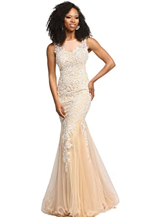 YSMei Womens Lace Evening Prom Dresses Long Mermaid Formal Gown Open Back Champagne 2