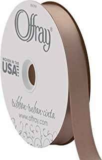 """product image for Berwick Offray 7/8"""" Wide Double Face Satin Ribbon, Stone Brown, 100 Yards"""