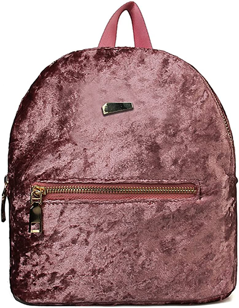 Pink EUNOMIA Winter Women Velvet Mini Backpack Student School Travel Shoulders Bag