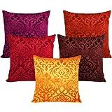 Xarans Velvet Floral Multi Cushion Cover Set Of 5 (40X40Cm)