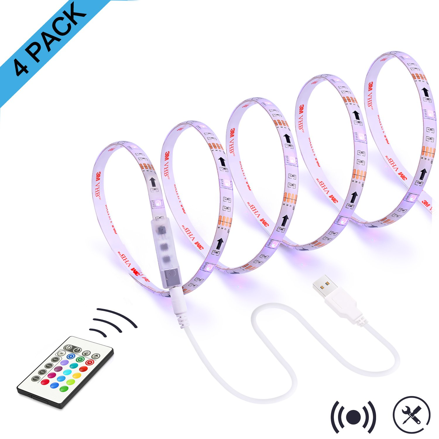 LED Strip Lights for TV Backlight,RGB 11.28Ft Bias Lighting with Remote for 55 to 75 Inches Flat HDTV and USB Powered Light Strip-Color Changing & Dimmable 4 pack