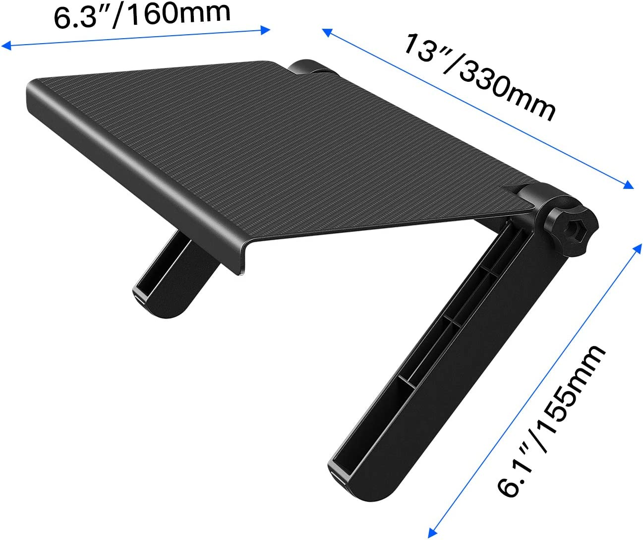 13-Inch Wide Platform Adjustable Screen Shelf Mount, Desktop Computer Monitor Streaming Cable Box TV Amazon Fire TV Top Shelf Mount- Black