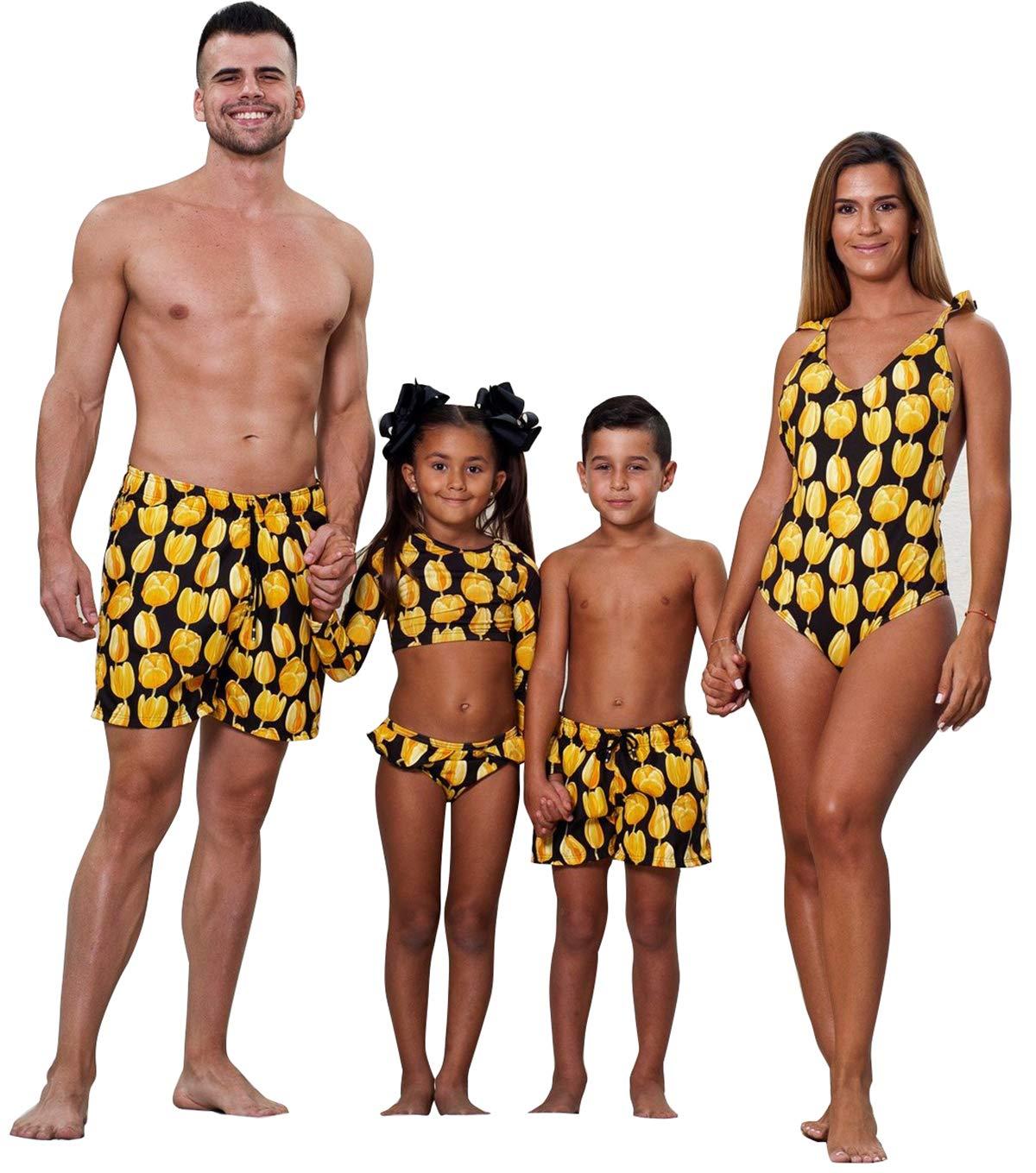 Family Matching Yellow Flower Print Bathing Suit Women Monokini Girl 2-Piece Rash Guard Swimsuit Dad&Boy Swim Shorts (Boy, Boy/ 8-9T)