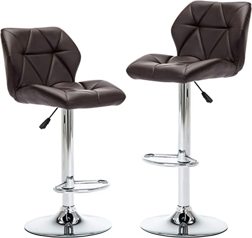 NOBPEINT Shell Back Adjustable Swivel Bar Stools, Brown Set of 2