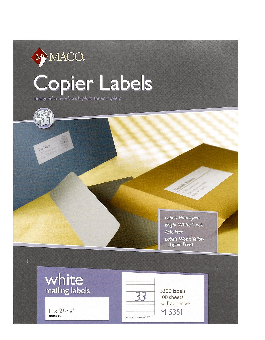 MACO White Copier Address Labels, 1 x 2-13/16 Inches, 33 Per Sheet, 3300 Per Box (M-5351)