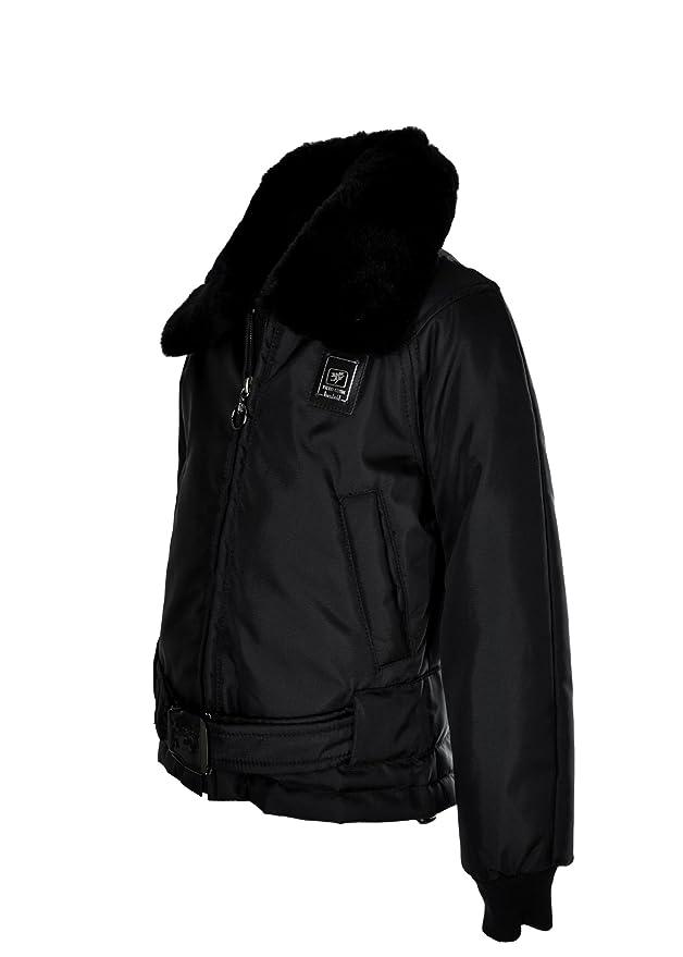 2b1339525d3de PIERO GUIDI giubbotto junior nero con colletto in vera pelle removibile (5  - 6 anni)  Amazon.it  Abbigliamento