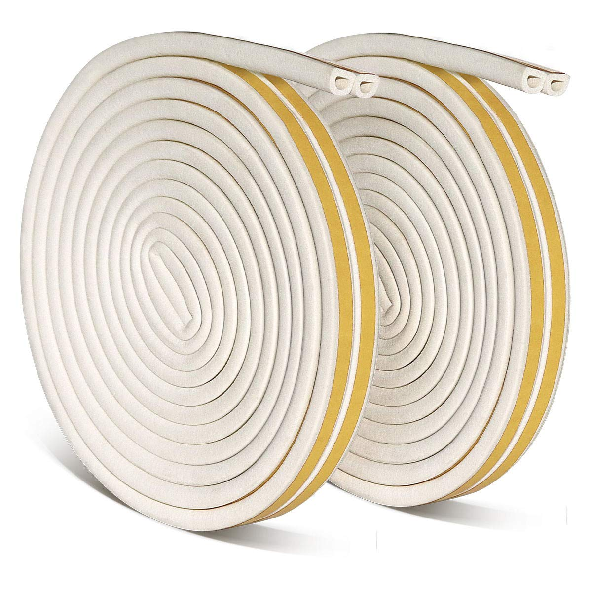 Vaxuia Rubber Seal Weather Strip Foam Tape Door Window Anti-Collision Self-Adhesive Rubber Water-Proofing Muffle the Noise Draught Excluder Door Insulation Strip Durable 12Meters(D Type, White) White)