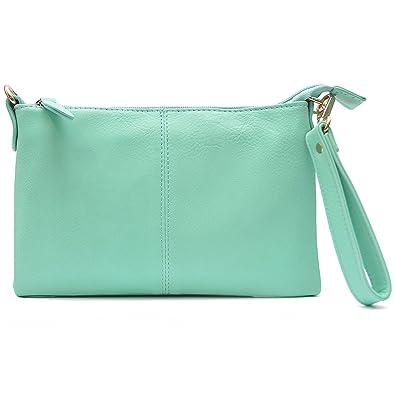 c33774311c536 Vain Secrets Umhängetasche Clutch kleine Abendtasche mit Schulterriemen und  Handgelenk Schlaufe (Mint)
