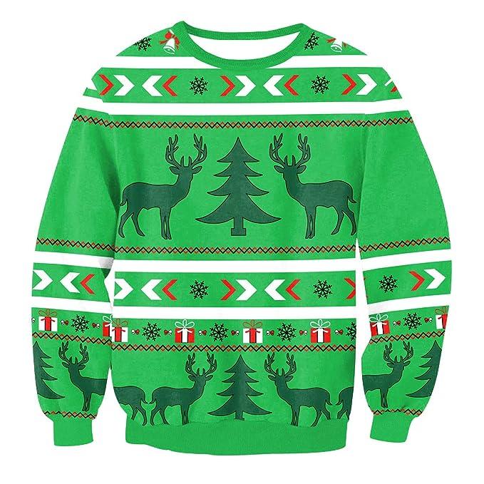 Sudaderas Navideñas Hombre Sudadera Navidad Estampadas Jersey Mujer Sueter Navideño Reno Sweaters Pullover Cuello Redondo Largas Chica Oversize Anchas ...