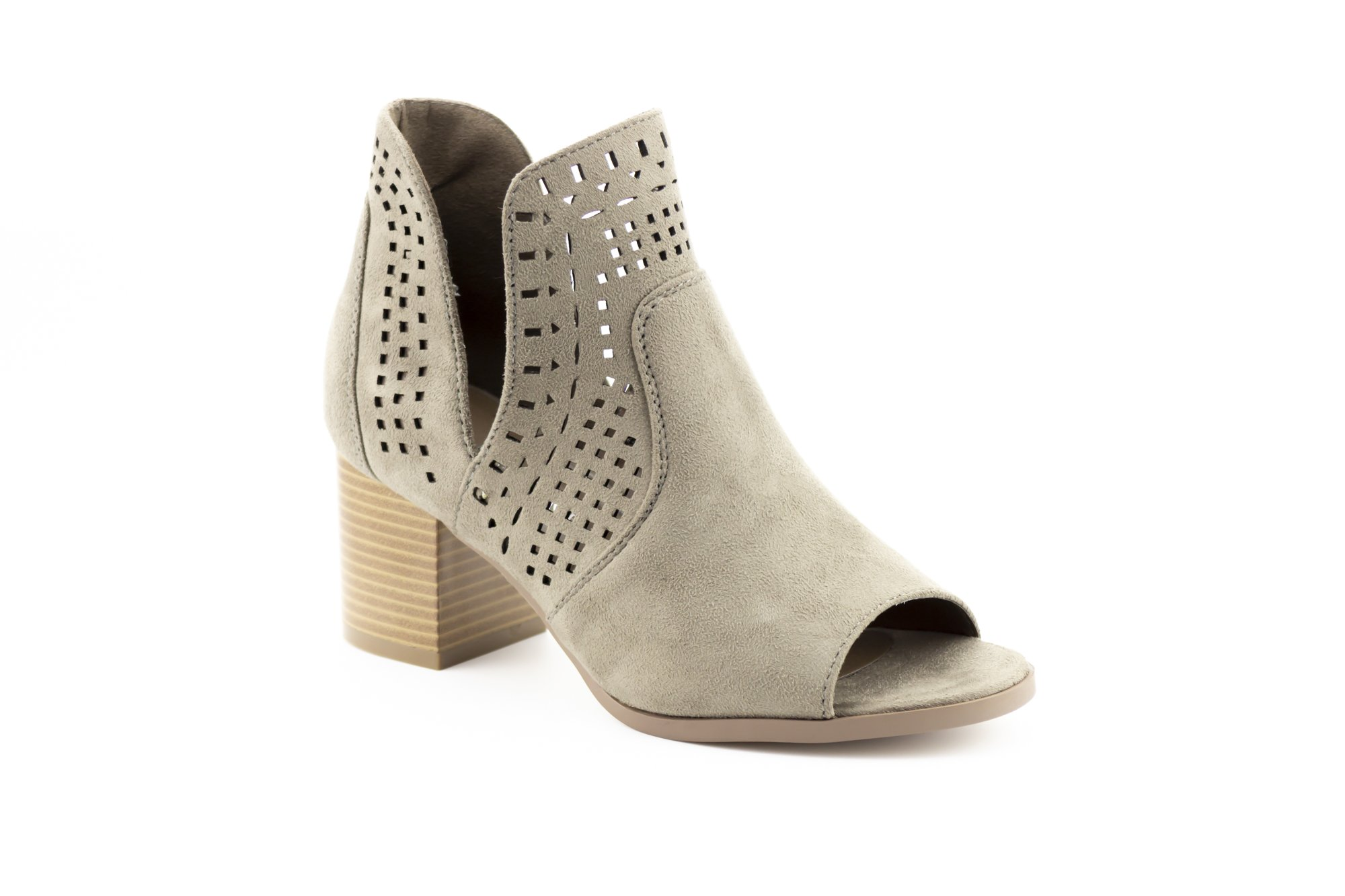 CALICO KIKI AVERY-CK02 Peep Toe Ankle Booties Fashion Cut Out (8.5 US Stone SU)