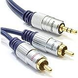 Puro HQ OFC 3,5 mm Estéreo Enchufe A 2 RCA Fono Clavijas Cable Oro 1 m