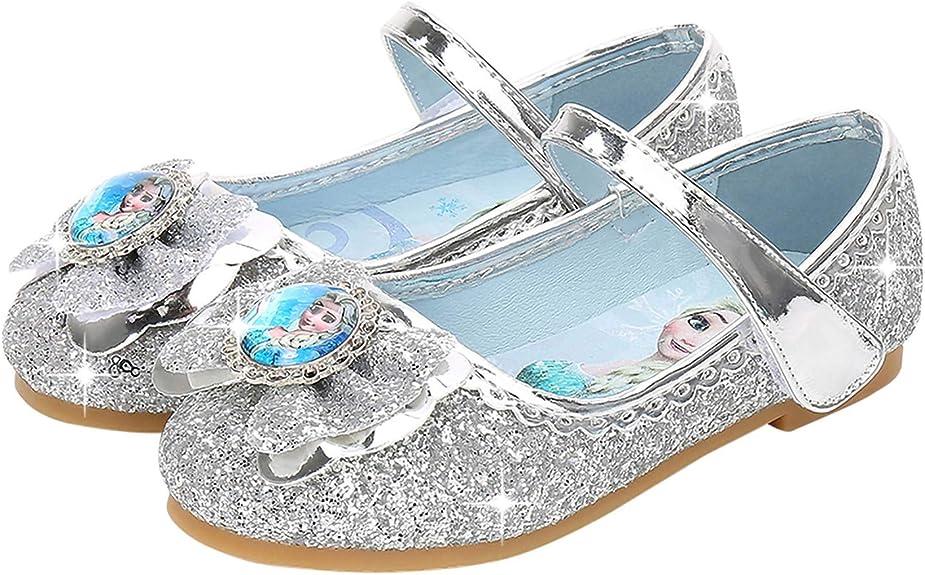 Imagen deYOSICIL Zapatos de la Princesa Elsa niñas con Lentejuela Zapato de Disfraz Elsa Frozen de Princesa Disfraz Sandalias con Velcro Tacón Zapatos de Fiesta Halloween Cumpleaños Azul EU22-35