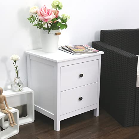 Kinbor Bedroom Furniture Night Stand Table with Double Drawers and Cabinet  for Storage (White-D)