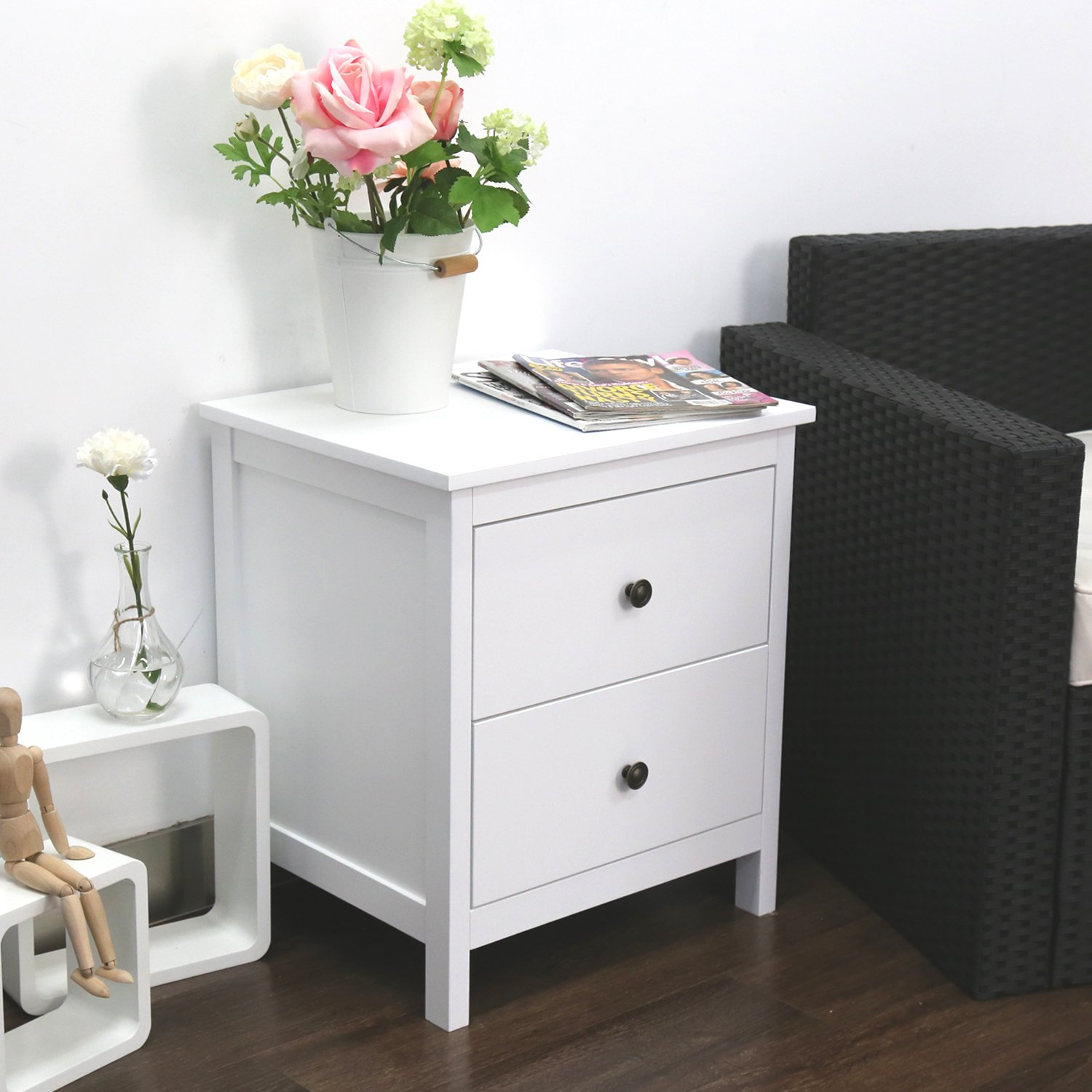 Kinbor Kinbor Bedroom Furniture Night Stand Table with Double Drawers and Cabinet for Storage (White-D)