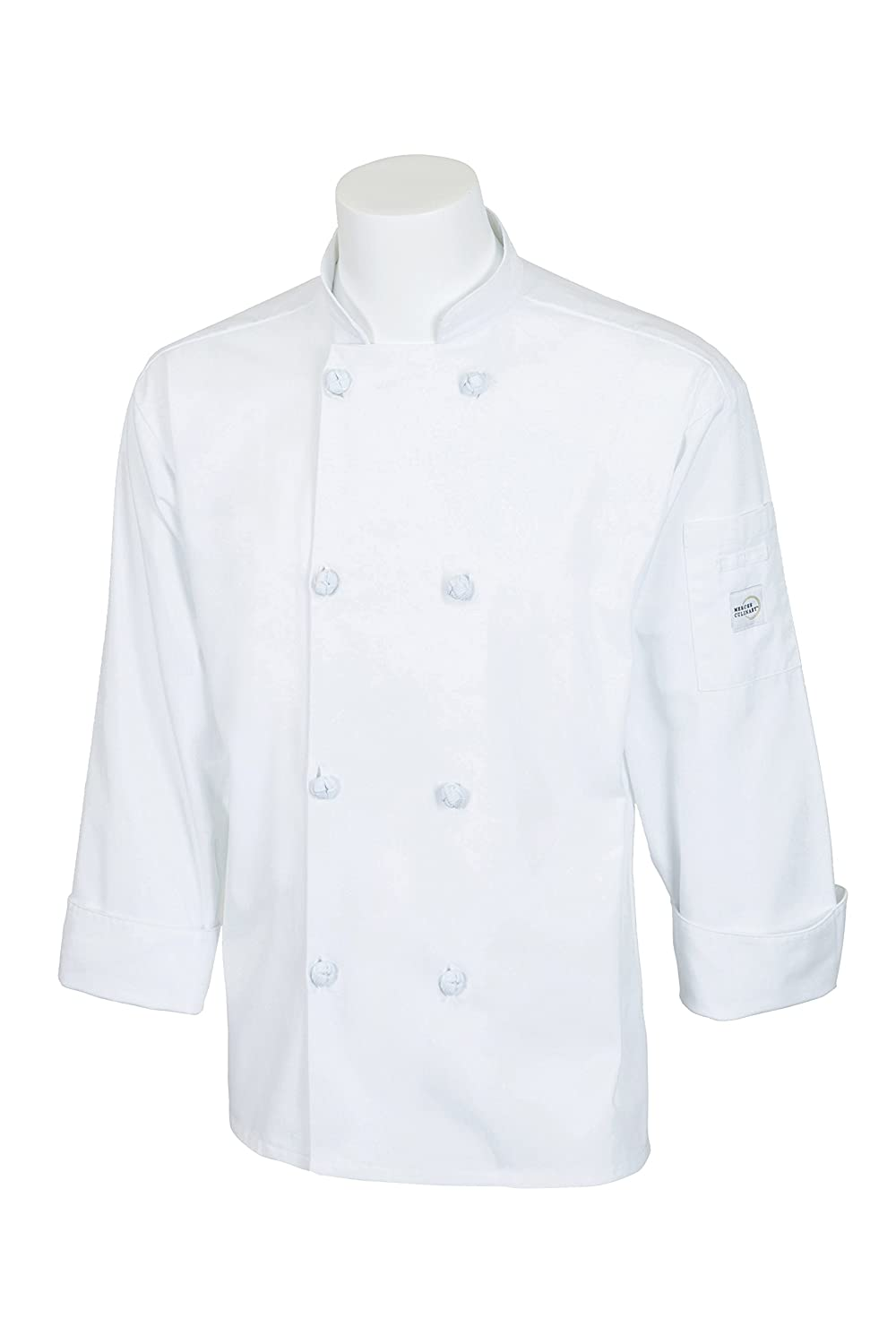 Mercer Culinary M60012BKXS Millennia Unisex Cook Jacket with Cloth Knot Buttons, X-Small, Black