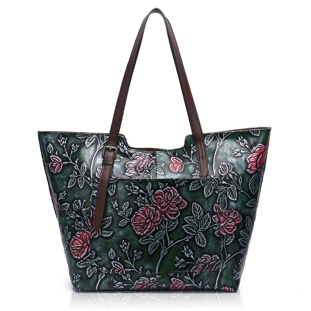 APHISON Designer Unique Embossed Floral Cowhide Leather Tote Style Ladies Top Handle Bags Handbags C812 (Green)