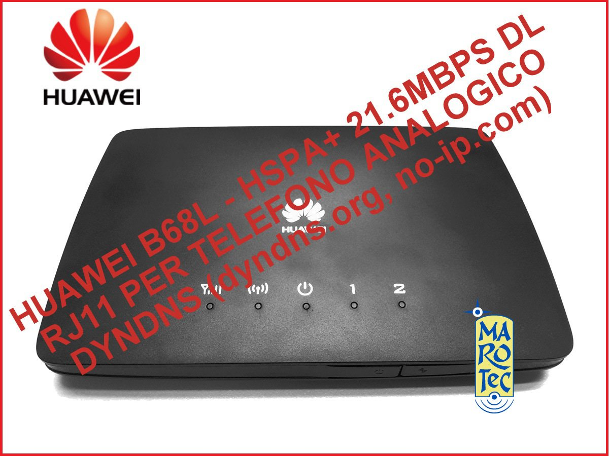 ROUTER 3G HUAWEI B68L HSPA+ 21.6MBPS IN DL / 5.76MBPS IN UL -WIFI- 2 PORTE LAN - USCITA RJ11 PER TELEFONO ANALOGICO - CONNETTORE SMA PER ANTENNA ESTERNA - GESTIONE DDNS (NO-IP.COM, DYNDNS.ORG, TZO)
