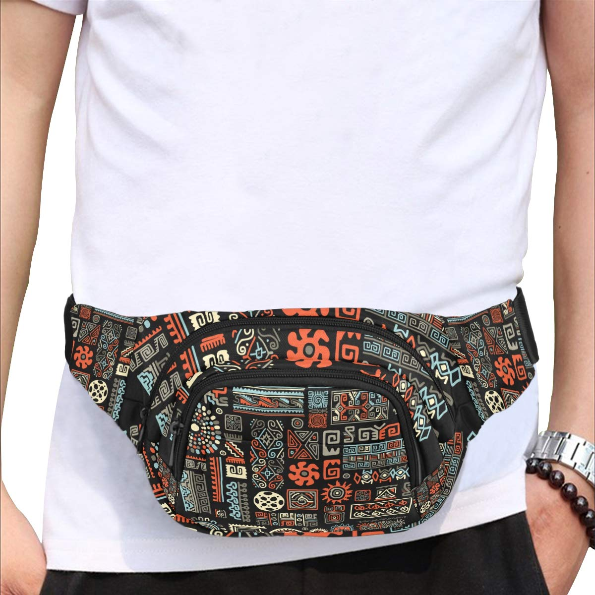 Beautiful Ethnic Decorative Lines Fenny Packs Waist Bags Adjustable Belt Waterproof Nylon Travel Running Sport Vacation Party For Men Women Boys Girls Kids