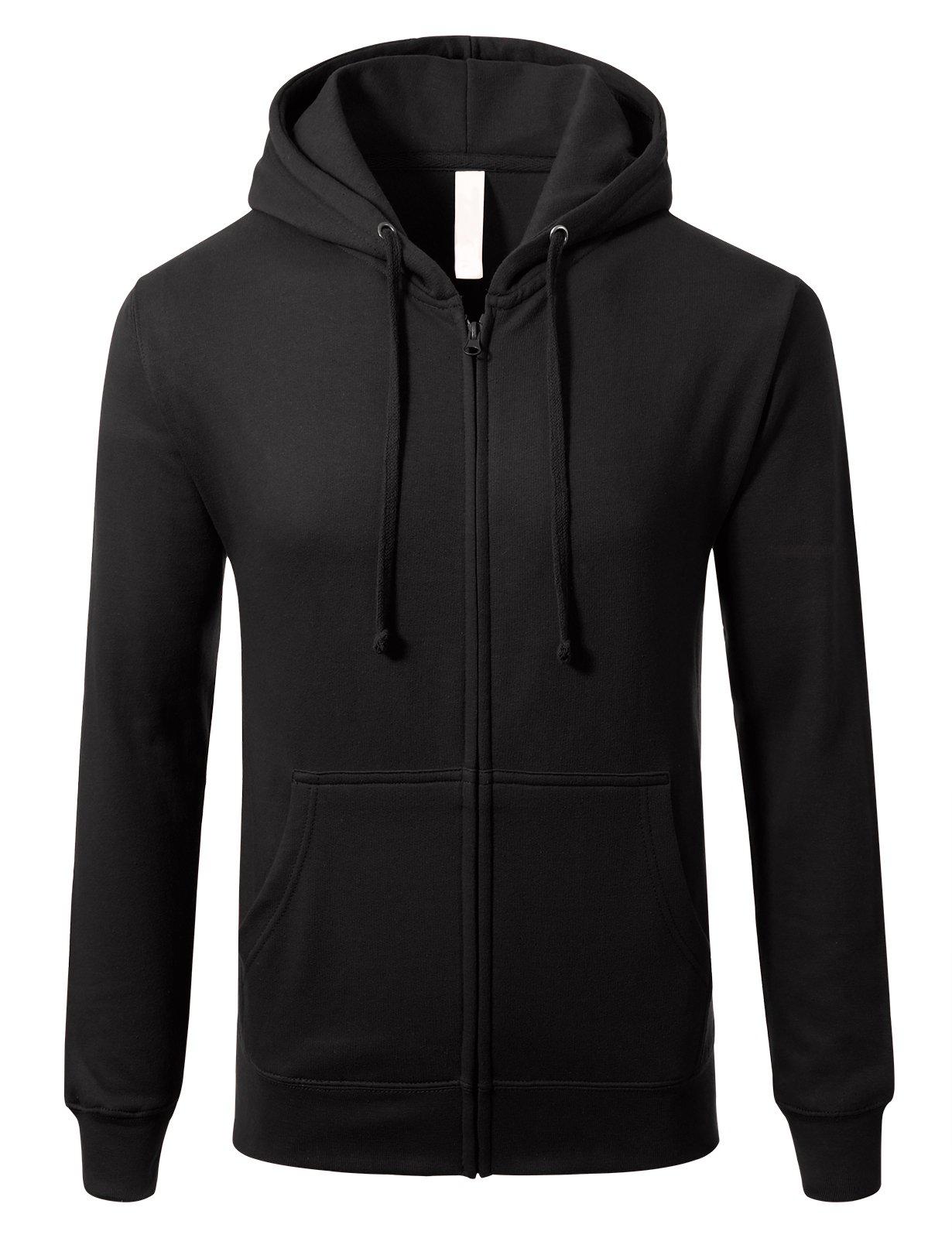 Mens Slim Fit Long Sleeve Lightweight Zip-up Hoodie With Kanga Pocket M Black