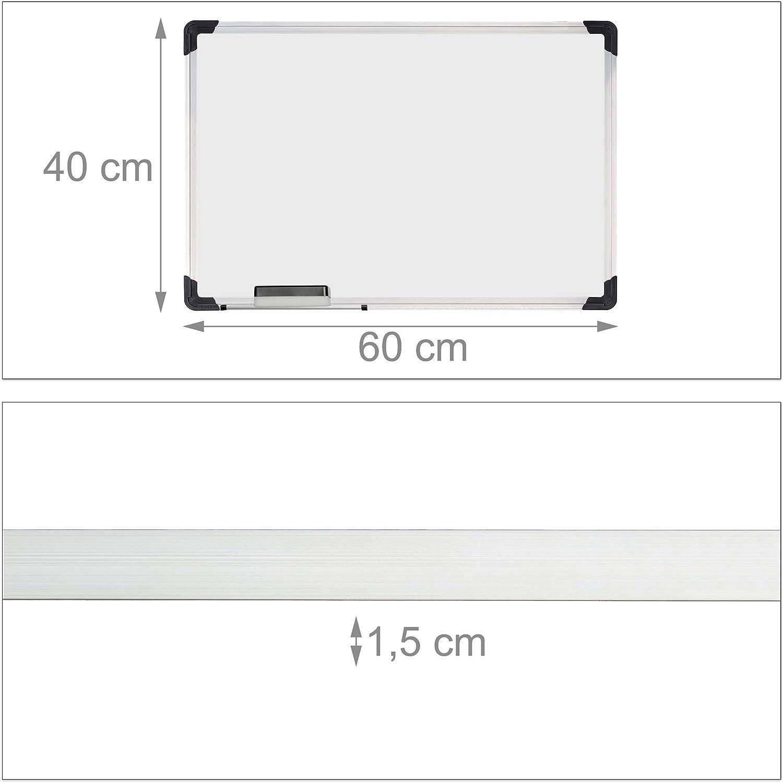 Cancellino e Pennarello per i Meetings e Seminari Relaxdays Bianca Magnetica Alluminio Cartone 40 x 60 x 1,5 cm plastica Lavagnetta HxL: 40 x 60 cm