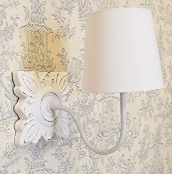 French country shabby chic style ivory martine wall light white french country shabby chic style ivory martine wall light white cotton shade aloadofball Images