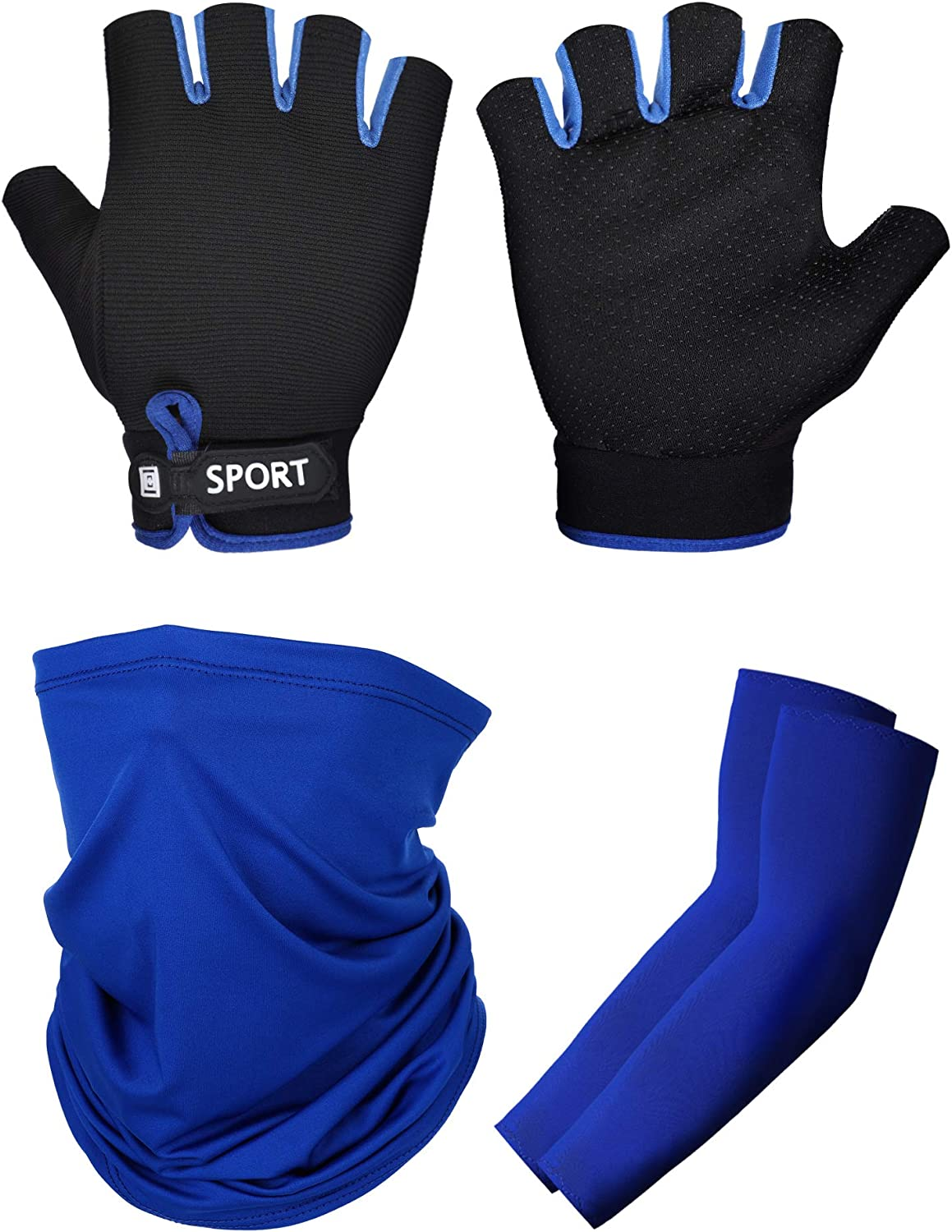 SATINIOR 3 Pack Sun Protection Kit Include Half Finger Cycling Fishing Gloves, Cooling Arm Sleeves and Neck Gaiter Face Cover