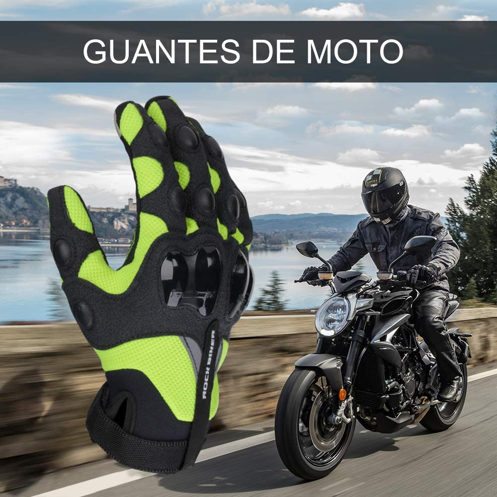 Guantes Moto Verano Mujer Hombre Guantes Moto con Protecci/ón Dedo Completo Antideslizante