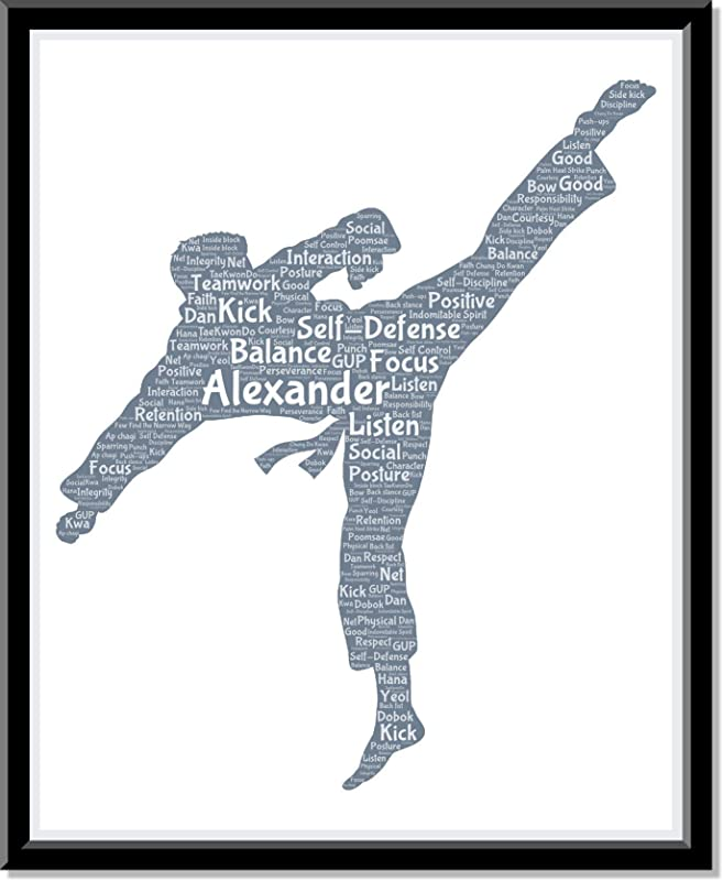 Martial Art Karate Poster Boys Wall Art, Personalized Mens Martial Arts Print Decor, Kung Fu gifts for him, Birthday Gifts for boys, Word Art Typography Man Fighting Pose, Custom Print for Wall Decor…