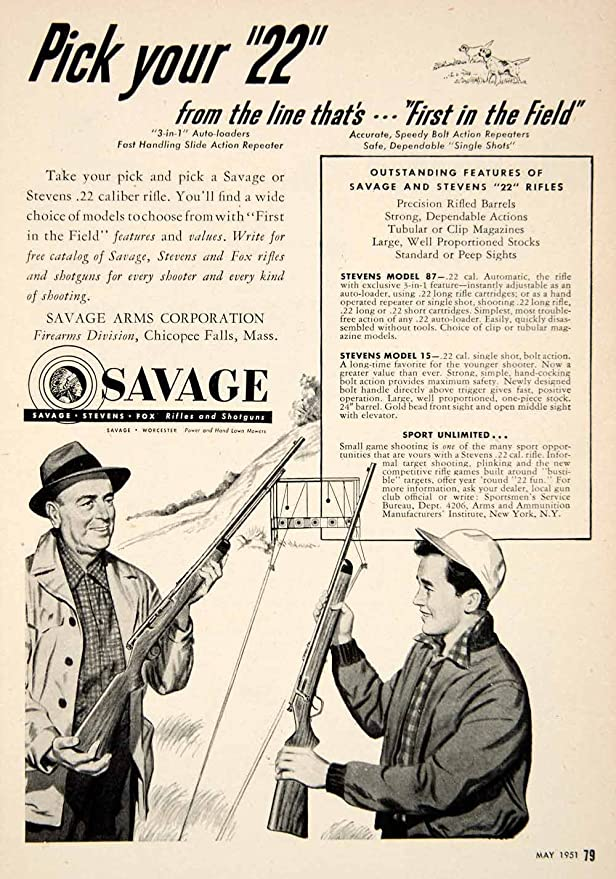 1951 Ad Savage Arms Firearms Gun Rifle Hunting  22 Target Father Son