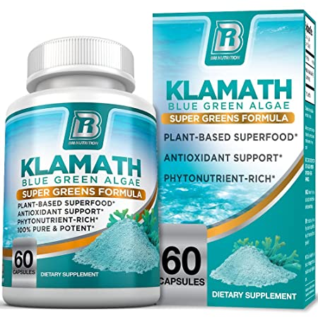 BRI Nutrition Klamath Blue Green Algae – More Effective Than Spirulina or Chlorella- Grown From The Clean Pure Source Of Klamath Lake, 500mg 60ct Gel Capsules