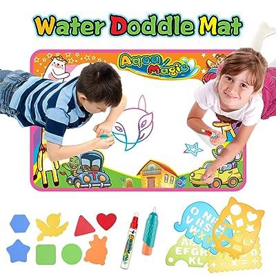 Aqua Doodle Mat, Aqua Magic Mat, Water Doodle Drawing Pad with 8 Molds 4 Pens Large Size,Toddler Toys for 1-5 Year Old Boys/Girls