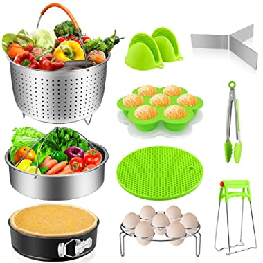 Instant Pot Accessories Set 14 Pcs, Pressure Cooker Accessories Fit Instant Pot 6,8 Qt - Steamer Basket, Springform Pan, Egg Rack, Egg Bites Mold, Oven Mitts, Silicone Trivet Mat, Magnetic Cheat Sheet