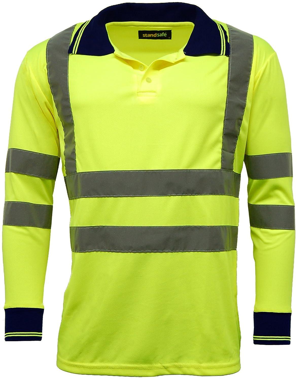 High Vis Visibility Long Sleeve Polo T Shirt EN471 - HV005