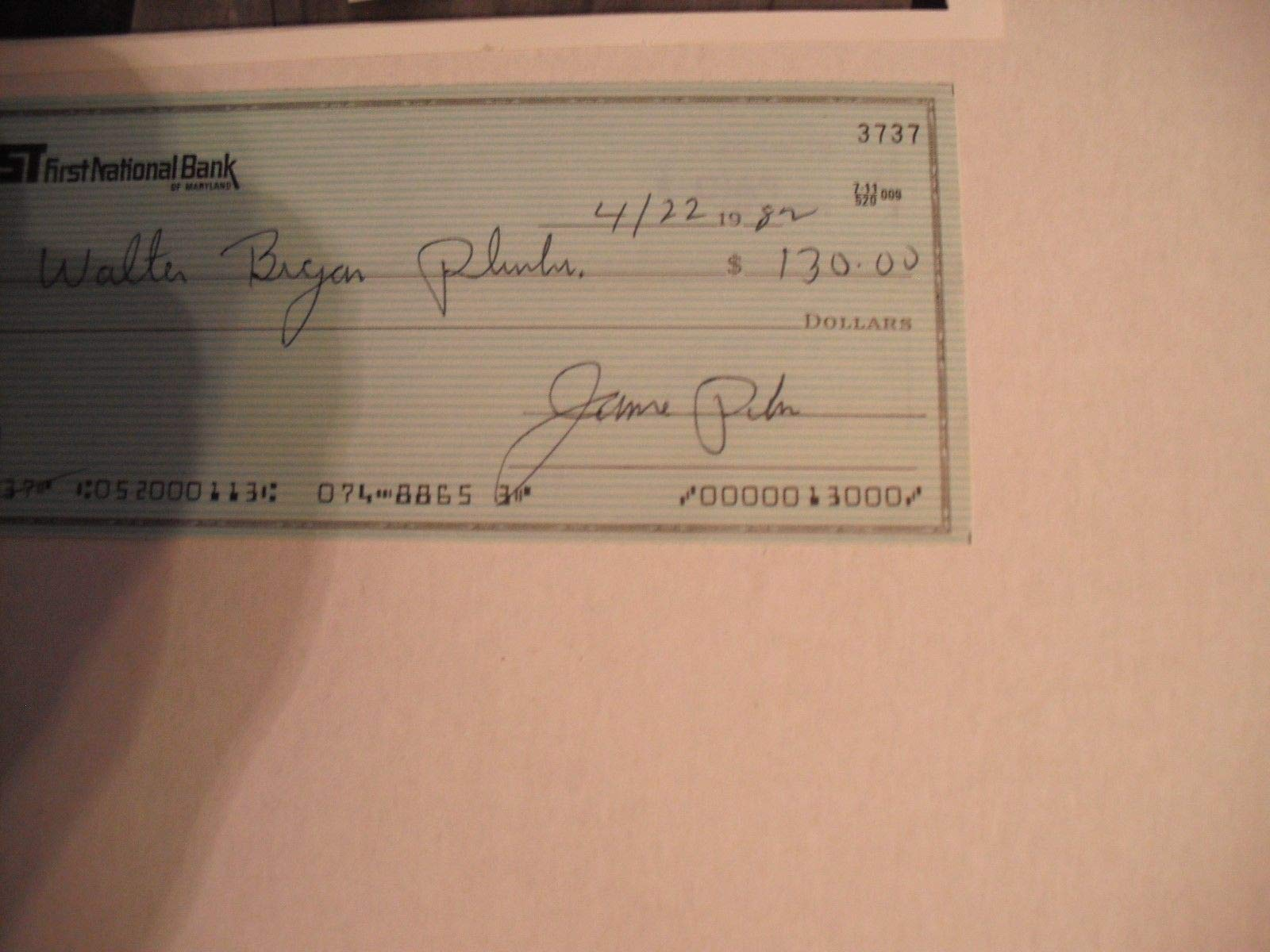 Jim Parker Baltimore Colts The Ohio State U Autographed Signed Business Bank Check JSA Authentic