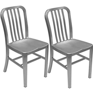 Awesome Alex Land Modern Brushed Aluminum Dining Chair   Indoor Or Outdoor (Pack Of  2)