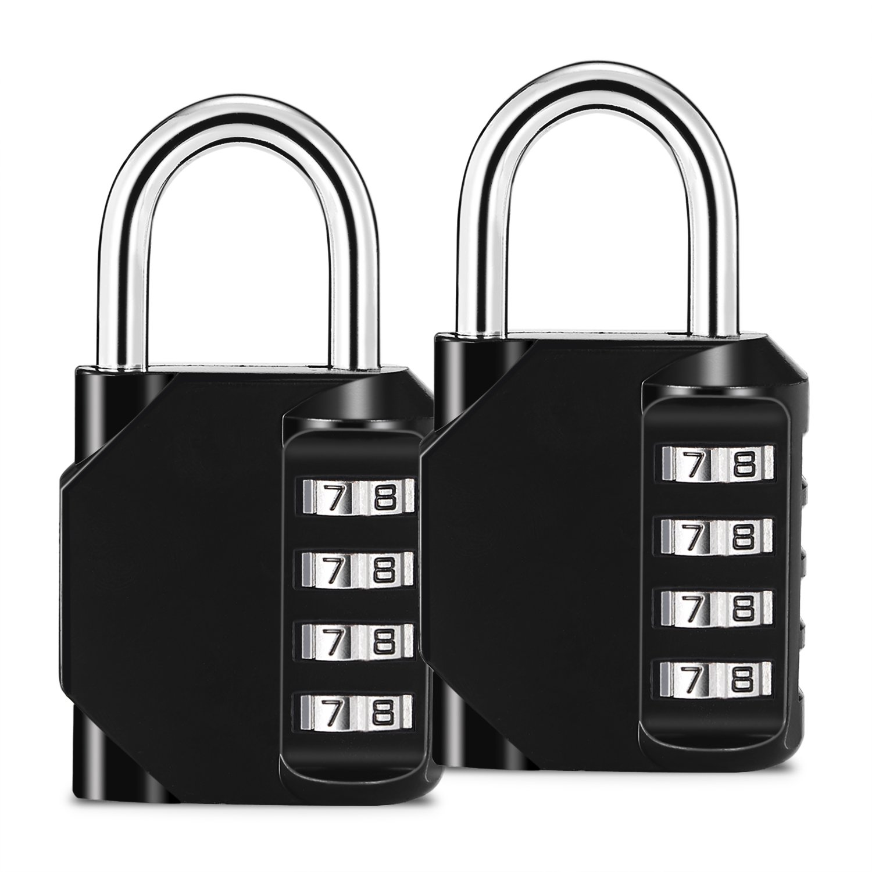 iHomeme Combination Lock,4 Digit Combination Padlock, Set for Gym, Sport, School,and Employee Locker, Outdoor, Fence, Storage