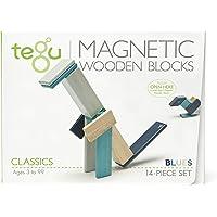 Tegu Magnetic Wooden Block Set, Blues, 14 Piece
