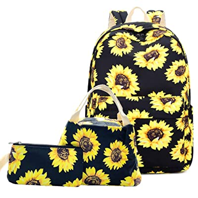 """Lmeison Sunflower Backpack Waterproof, Floral College Bookbag with Lunch Bag and Pencil Case for Women Girls, Lightweight Travel Daypack 15"""" Laptop Backpack for School 