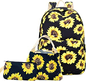 """Lmeison Floral Backpack for Wemen Teen Girls, Sunflower College Bookbag with Lunch Bag&Pencil Case, Waterproof and Lightweight, Travel Daypack 15"""" Laptop Bag for School"""