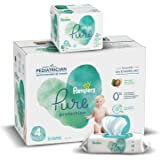 Diapers Size 4, 150 Count and Baby Wipes - Pampers Pure Protection Diapers and Aqua Pure 6X Pop-Top Sensitive Water Baby Wipe