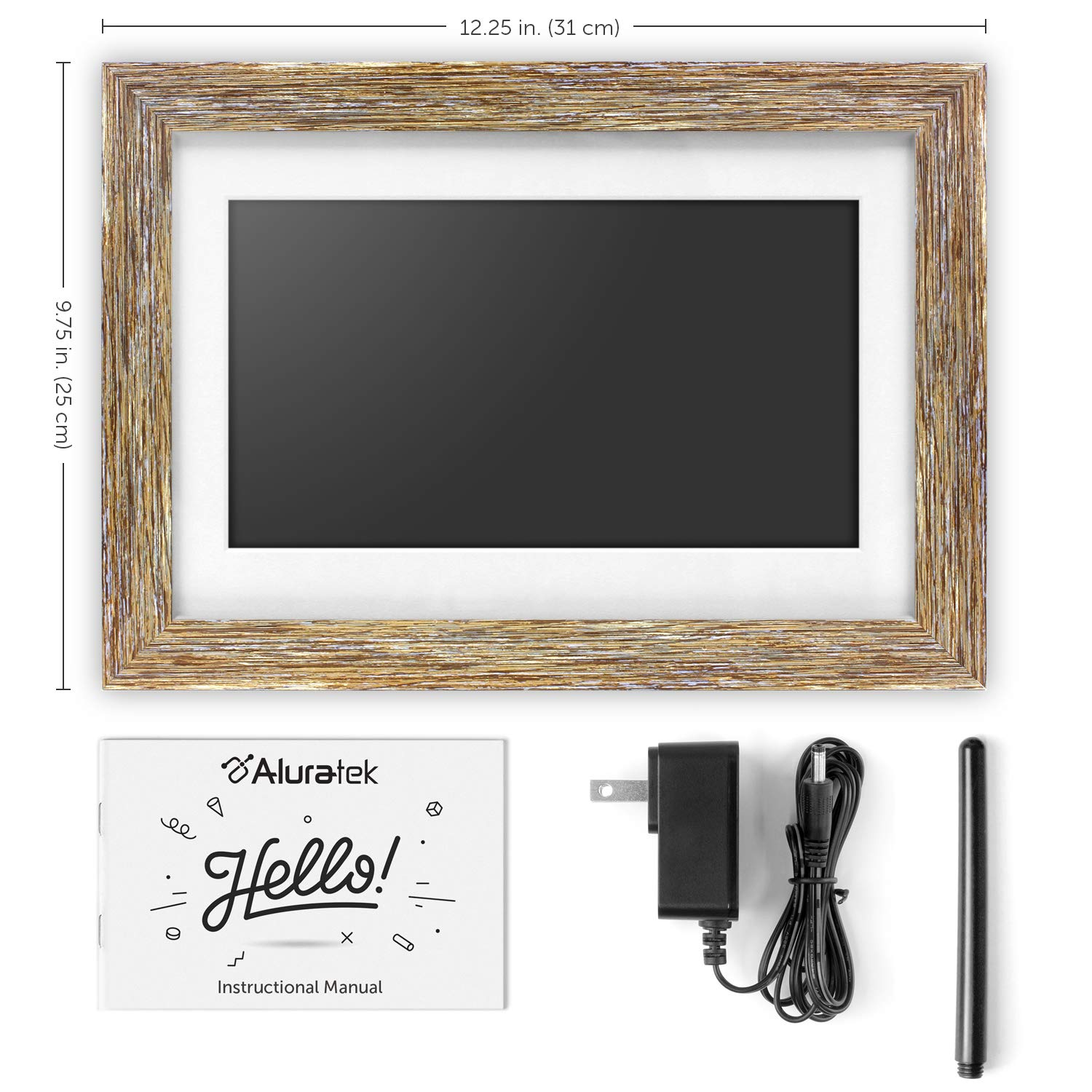 Aluratek (ADPFD10F) 10 inch Digital Photo Frame with Auto Slideshow, Distressed Wood Border, 1024 x 600, 16: 9 Aspect Ratio, Wall Mountable by Aluratek (Image #7)