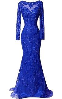 65735301fbf0 DKBridal Long Sleeves Evening Gowns Mermaid Long Applique Sheer Neck Prom  Dresses