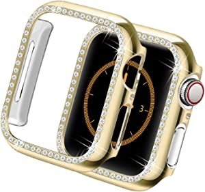 Yolovie Compatible for Apple Watch Case 38mm, iWatch Cover with Bling Crystal Diamonds Shiny Rhinestone Bumper, PC Protective Frame for Apple Watch Series 3/2/1 Women Girl (Gold-Diamond, 38mm)