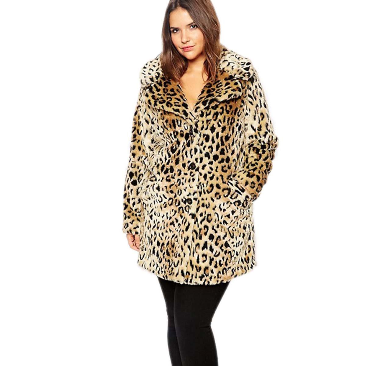 Women Plus Size Leopard Print Faux Fur Coat Warm Fur Coats Long Sleeve Slim Outerwear WeHeart