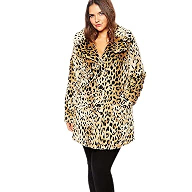 62816ef23c2d Women Plus Size Leopard Print Faux Fur Coat Warm Fur Coats Long Sleeve Slim  Outerwear (